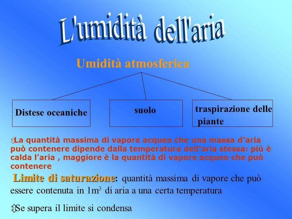 L umidità dell aria Umidità atmosferica suolo traspirazione delle