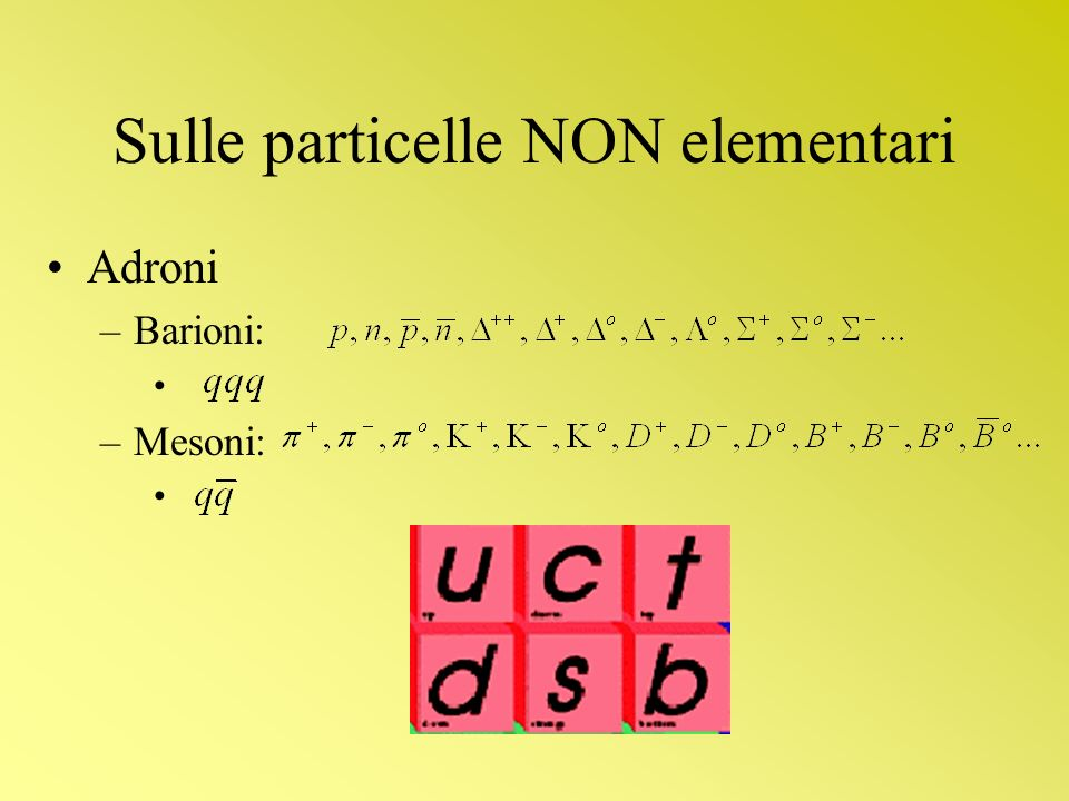 Sulle particelle NON elementari