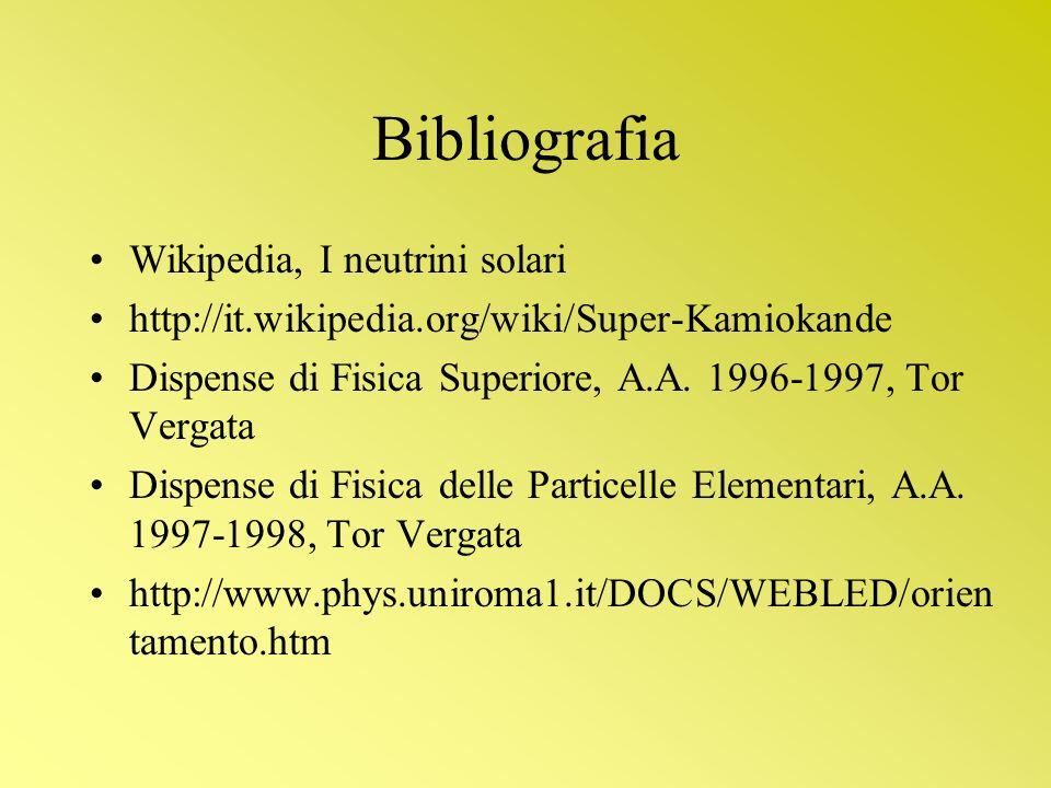 Bibliografia Wikipedia, I neutrini solari