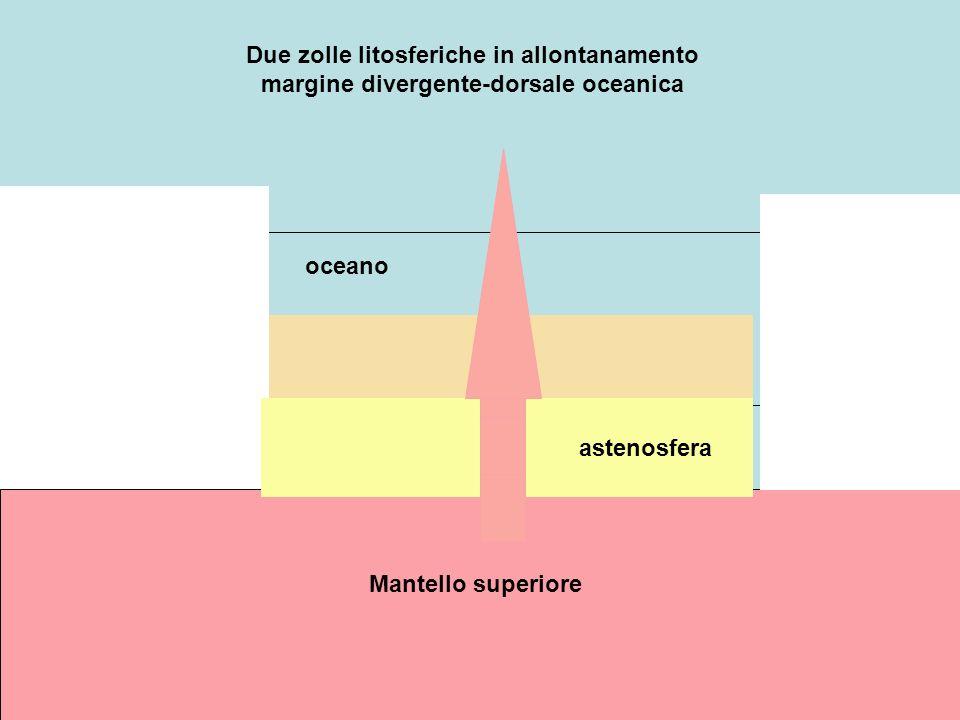 Due zolle litosferiche in allontanamento margine divergente-dorsale oceanica
