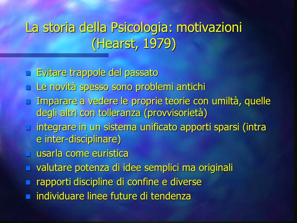 La storia della Psicologia: motivazioni (Hearst, 1979)