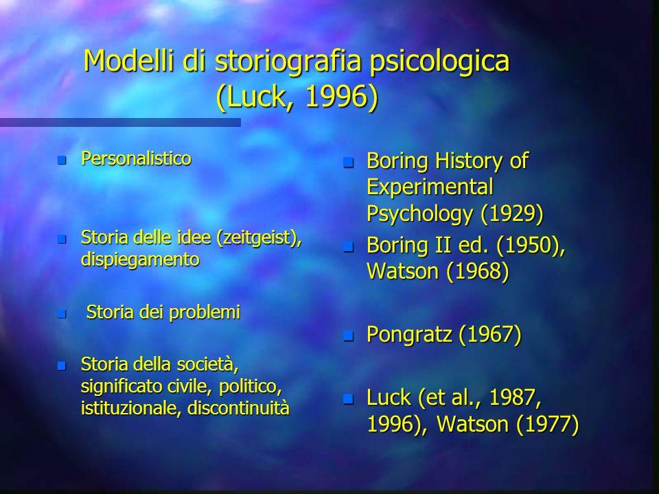 Modelli di storiografia psicologica (Luck, 1996)