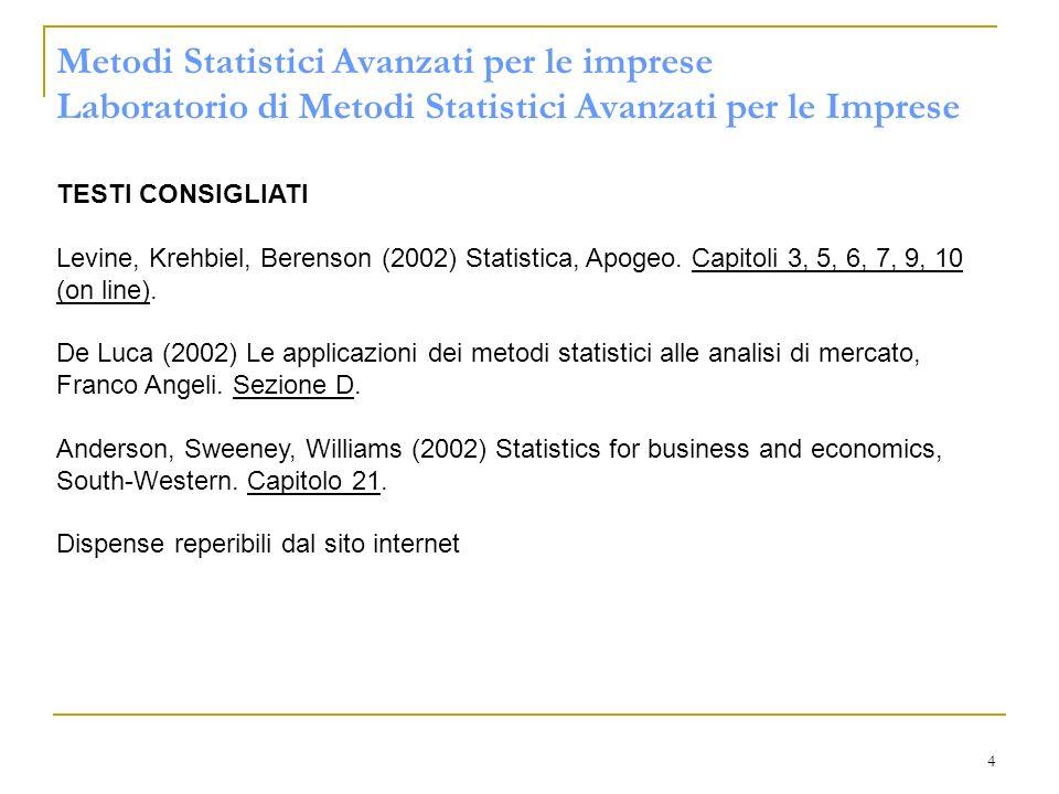 Metodi Statistici Avanzati per le imprese Laboratorio di Metodi Statistici Avanzati per le Imprese