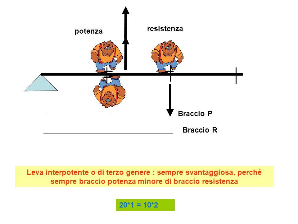 resistenza potenza. Braccio P. Braccio R.