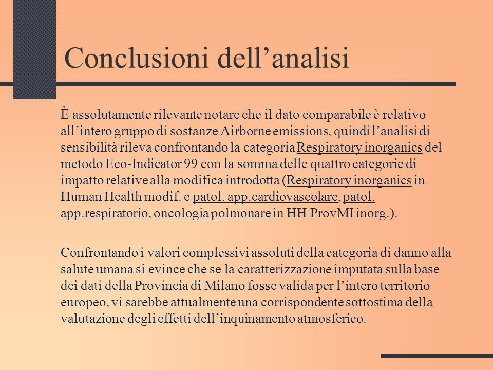 Conclusioni dell'analisi