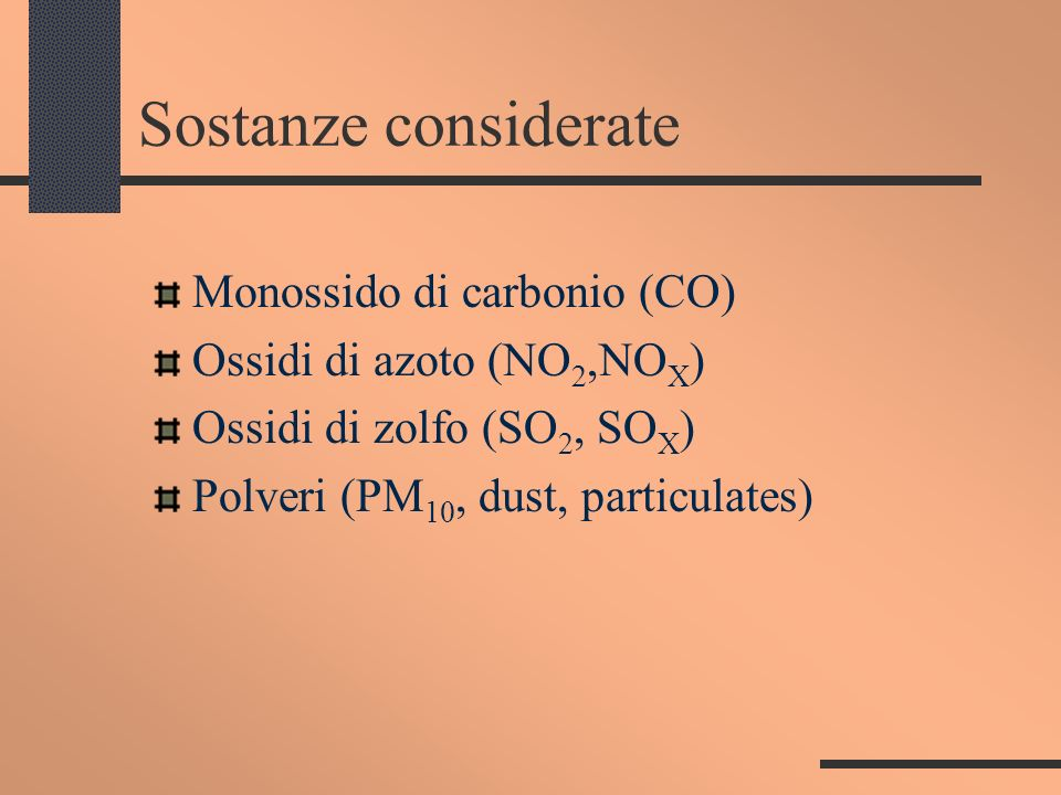 Sostanze considerate Monossido di carbonio (CO)