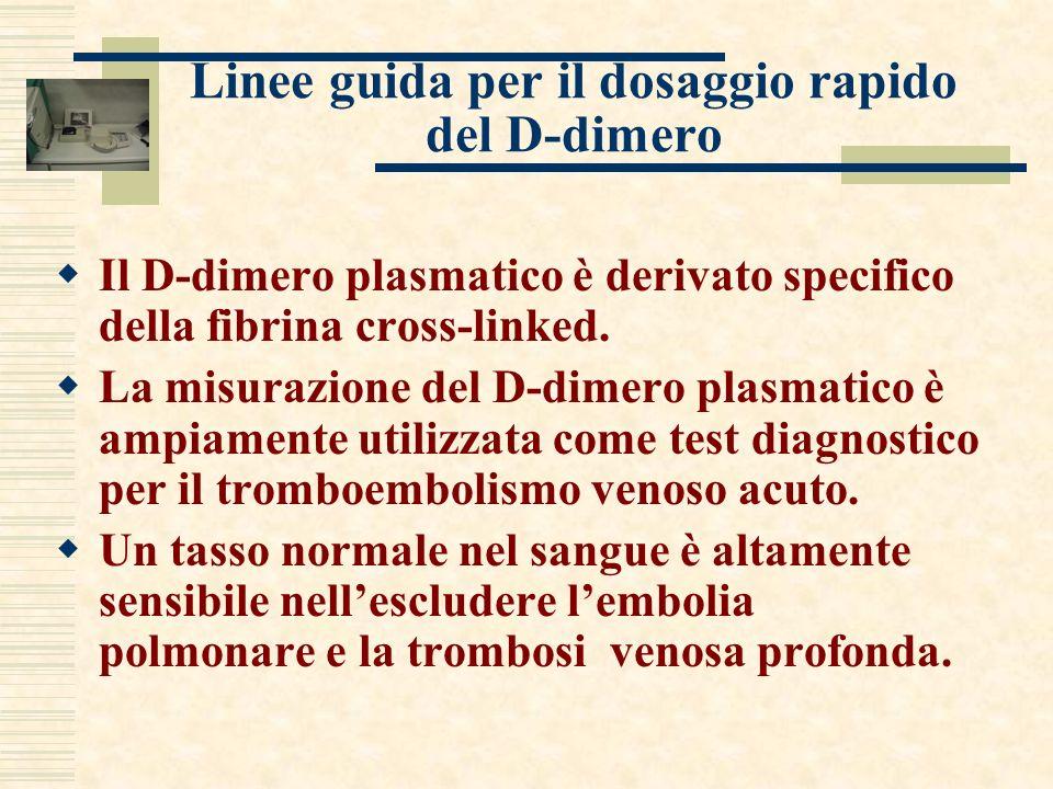 Linee guida per il dosaggio rapido del D-dimero