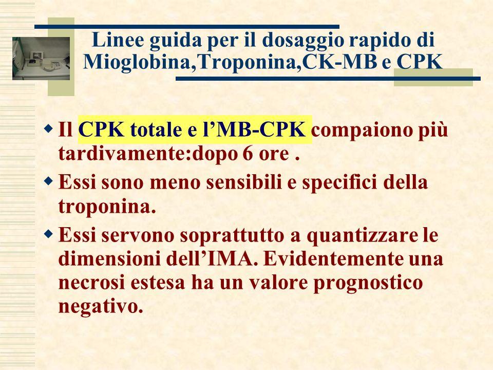 Linee guida per il dosaggio rapido di Mioglobina,Troponina,CK-MB e CPK