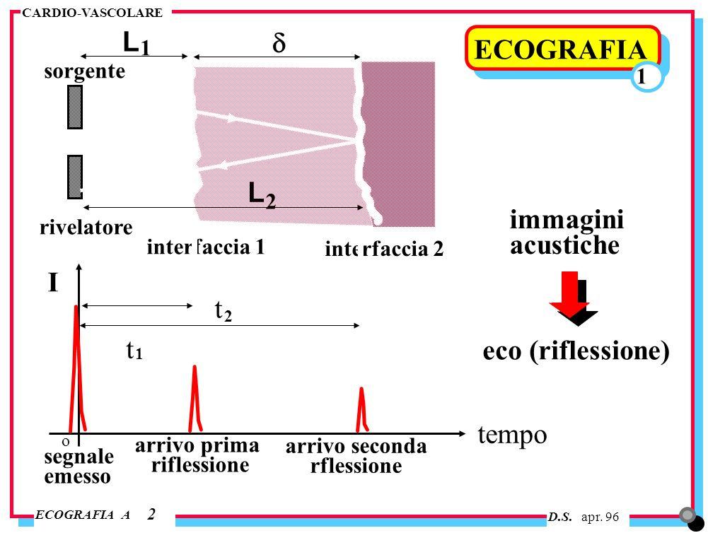 L d ECOGRAFIA L immagini acustiche I t t eco (riflessione) tempo 1