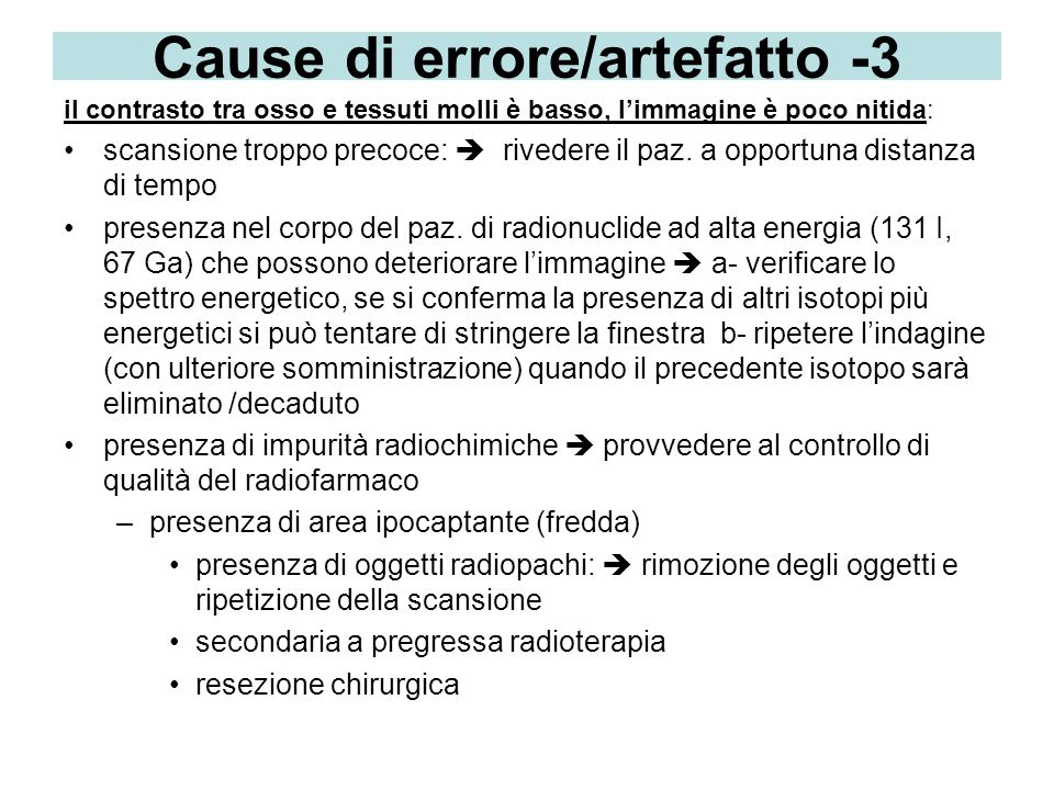 Cause di errore/artefatto -3