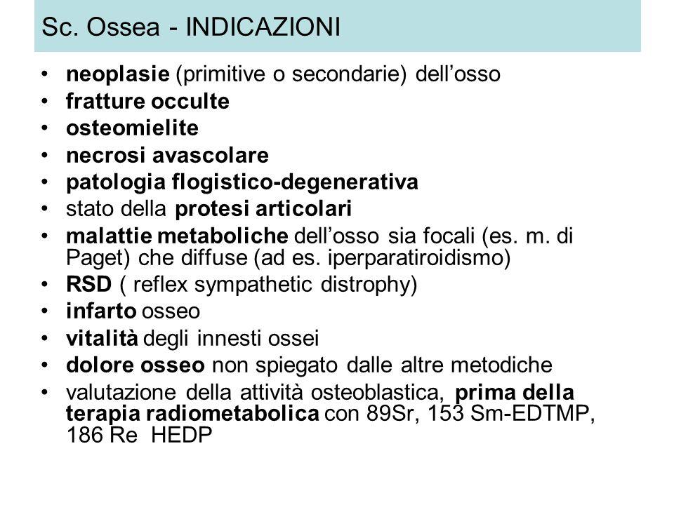 Sc. Ossea - INDICAZIONI neoplasie (primitive o secondarie) dell'osso