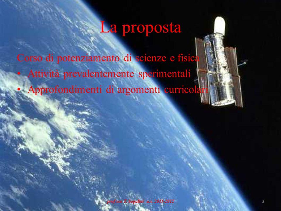 La proposta Corso di potenziamento di scienze e fisica