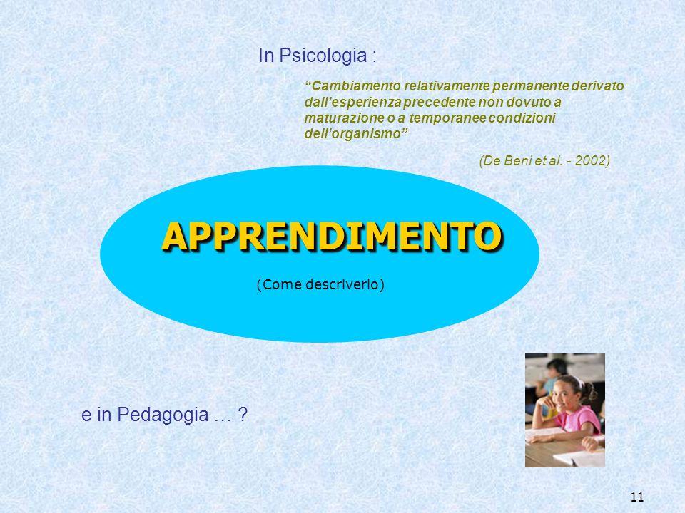 APPRENDIMENTO In Psicologia : e in Pedagogia …