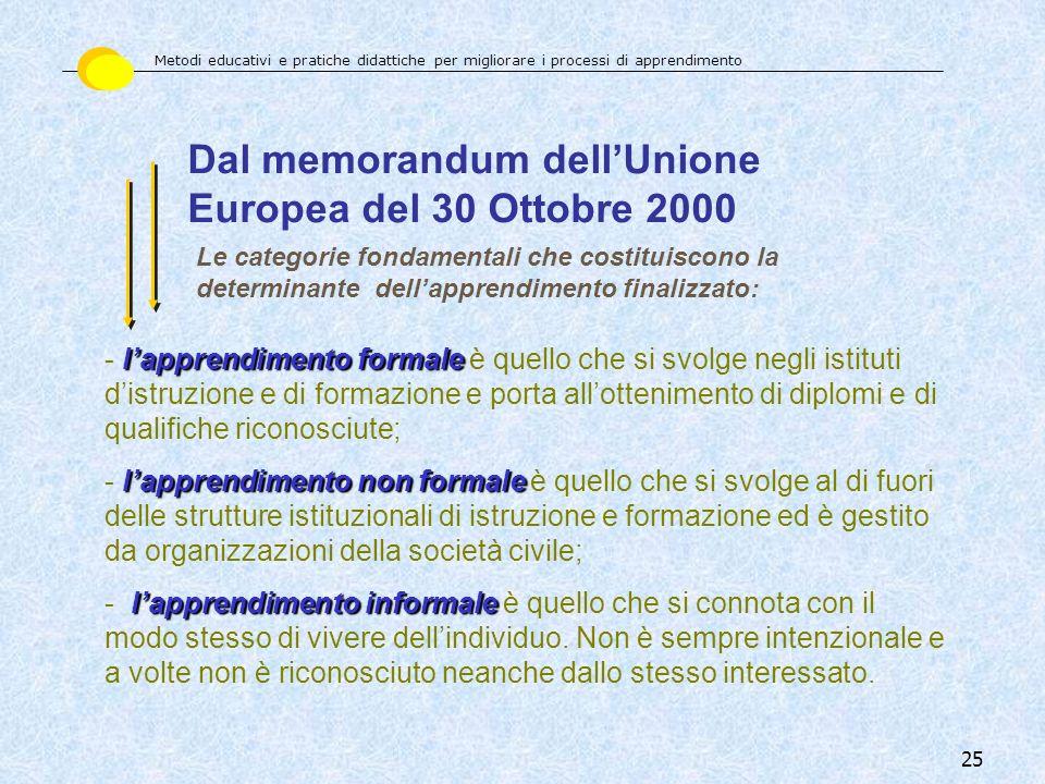 Dal memorandum dell'Unione Europea del 30 Ottobre 2000