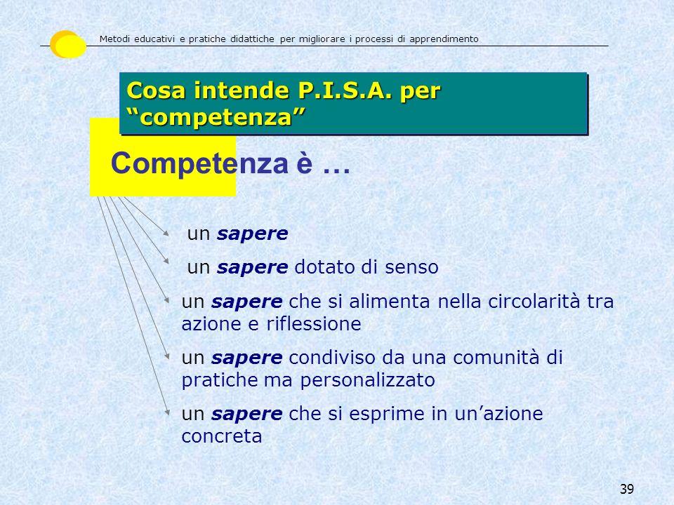 Competenza è … Cosa intende P.I.S.A. per competenza un sapere
