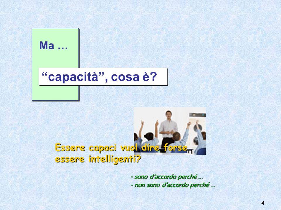 Ma … capacità , cosa è Essere capaci vuol dire forse essere intelligenti - sono d'accordo perché …