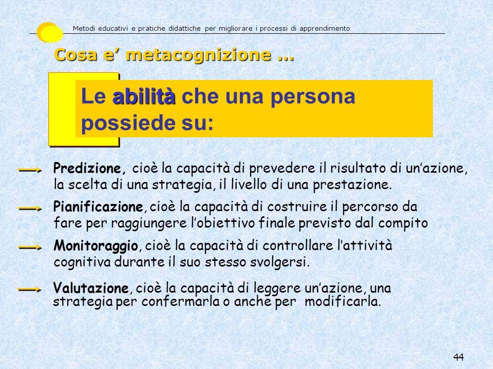 Le abilità che una persona possiede su: