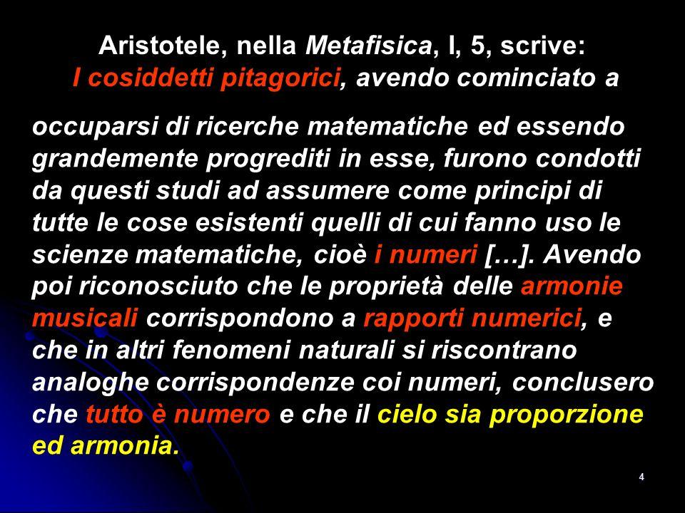 Aristotele, nella Metafisica, I, 5, scrive: