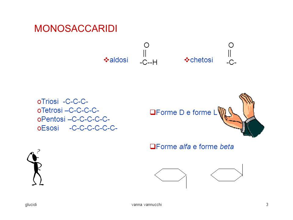 MONOSACCARIDI aldosi -C--H O || chetosi -C- O || Forme D e forme L