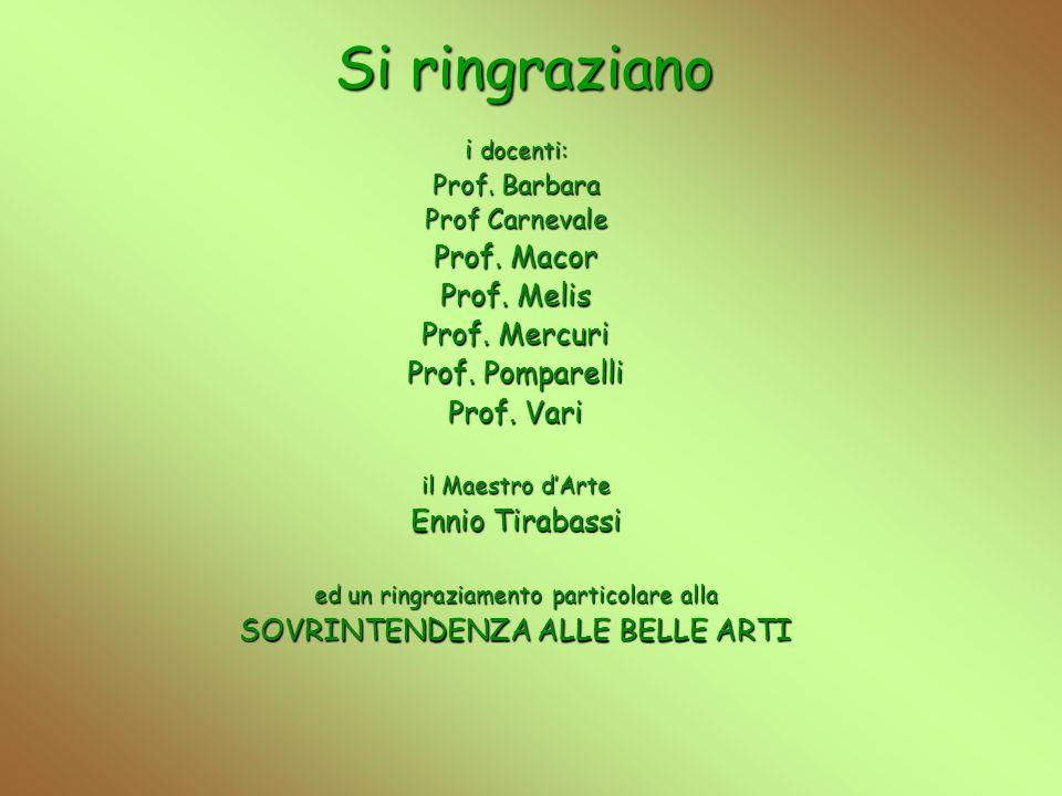 Si ringraziano Prof. Macor Prof. Melis Prof. Mercuri Prof. Pomparelli