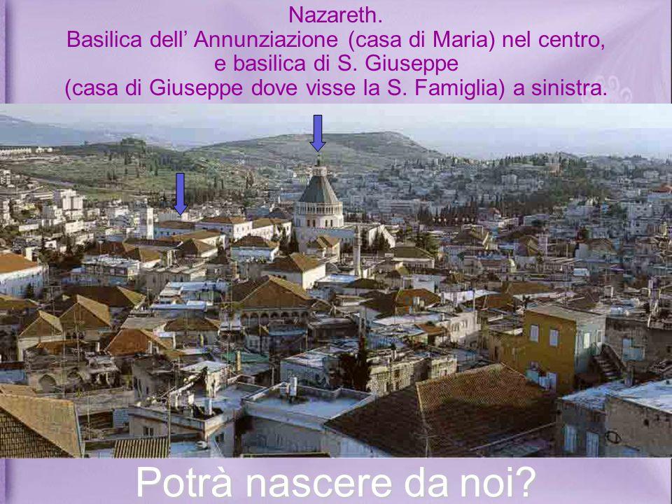 Nazareth. Basilica dell' Annunziazione (casa di Maria) nel centro, e basilica di S. Giuseppe (casa di Giuseppe dove visse la S. Famiglia) a sinistra.