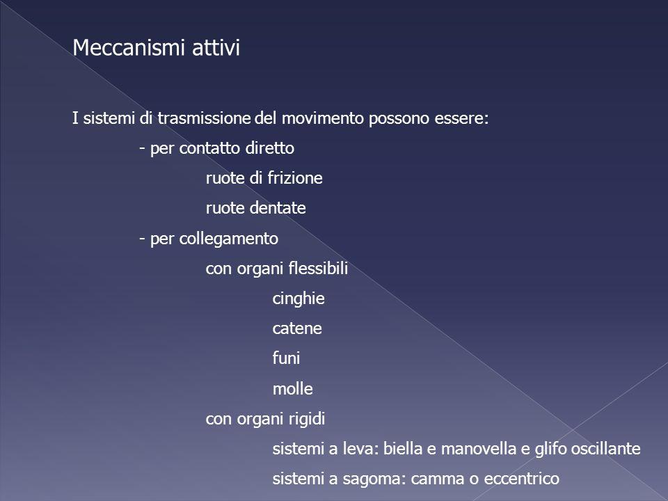 Meccanismi attivi I sistemi di trasmissione del movimento possono essere: - per contatto diretto. ruote di frizione.