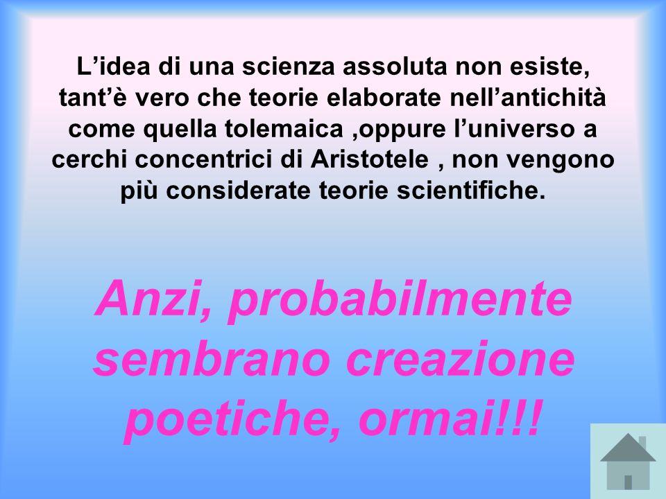 L'idea di una scienza assoluta non esiste, tant'è vero che teorie elaborate nell'antichità come quella tolemaica ,oppure l'universo a cerchi concentrici di Aristotele , non vengono più considerate teorie scientifiche.
