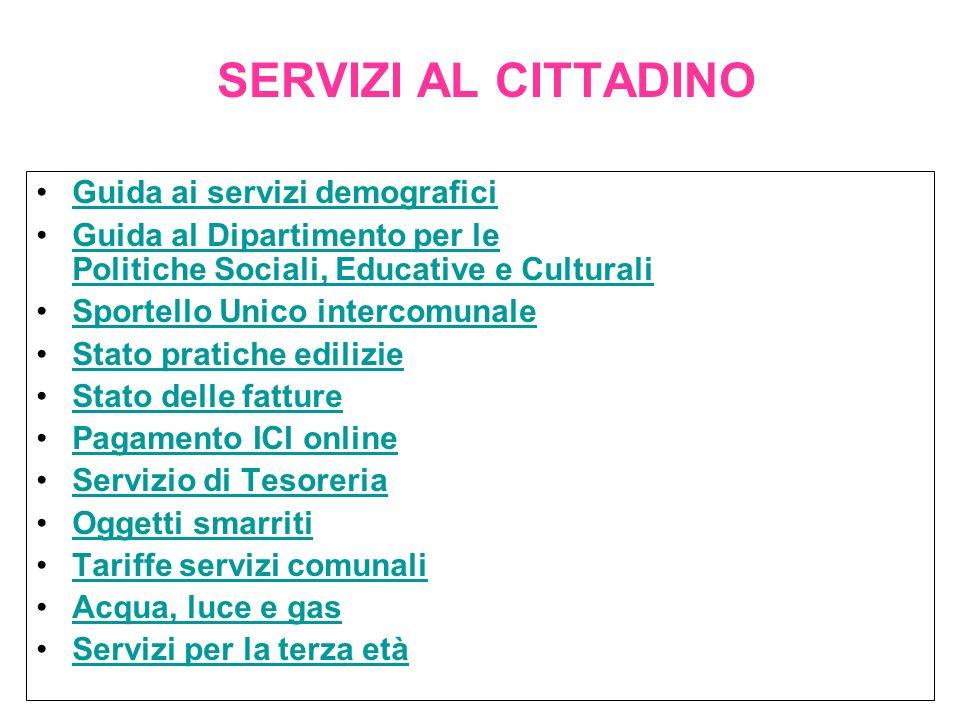 SERVIZI AL CITTADINO Guida ai servizi demografici