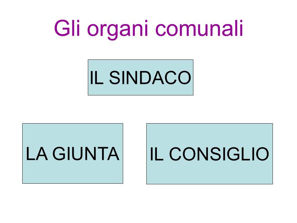 Gli organi comunali IL SINDACO LA GIUNTA IL CONSIGLIO