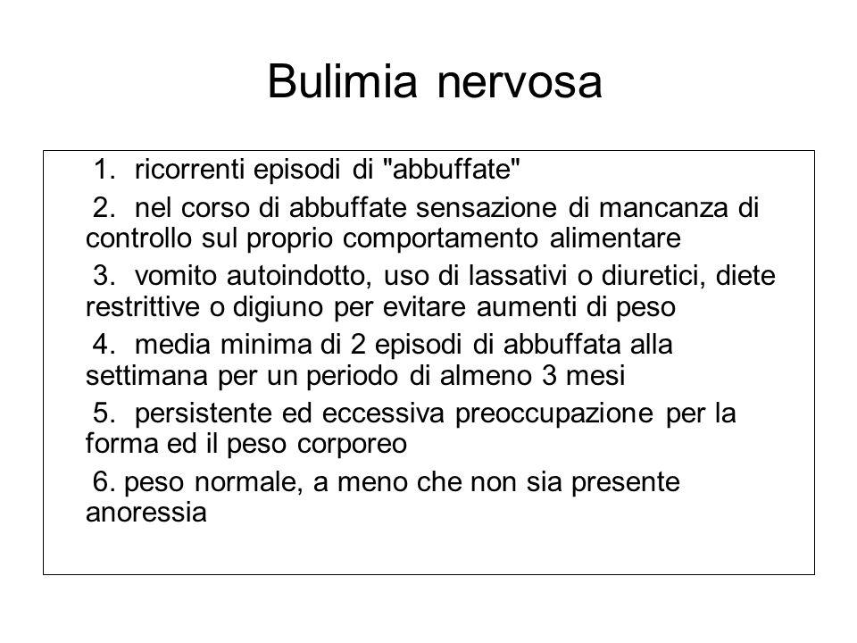 Bulimia nervosa 1. ricorrenti episodi di abbuffate