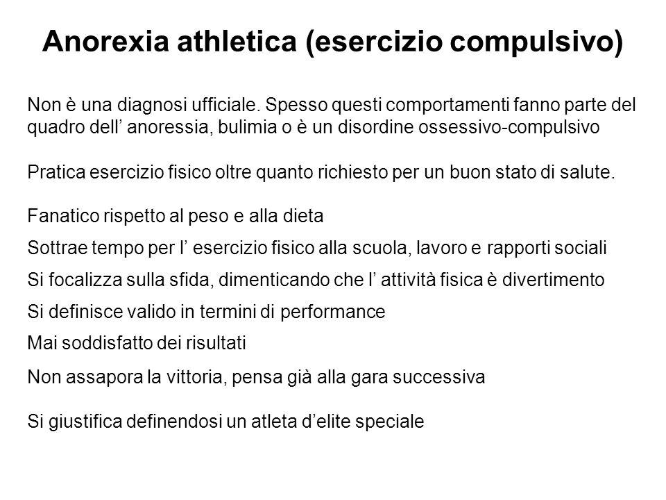 Anorexia athletica (esercizio compulsivo)