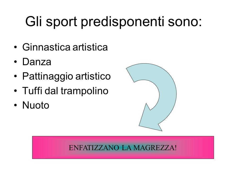 Gli sport predisponenti sono: