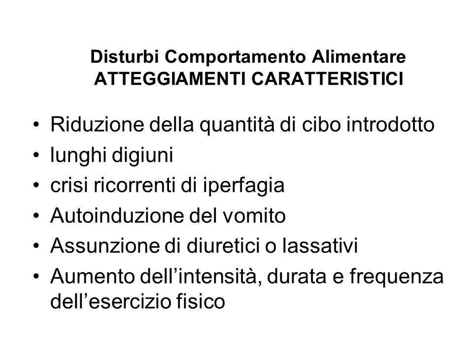 Disturbi Comportamento Alimentare ATTEGGIAMENTI CARATTERISTICI