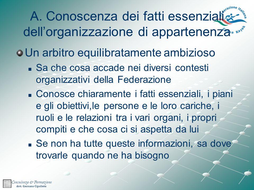A. Conoscenza dei fatti essenziali dell'organizzazione di appartenenza