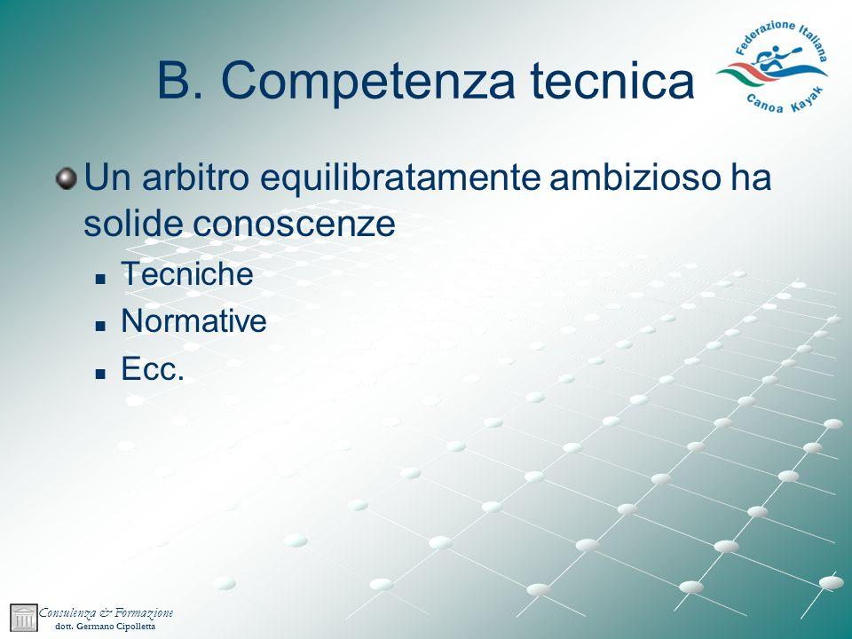 B. Competenza tecnica Un arbitro equilibratamente ambizioso ha solide conoscenze. Tecniche. Normative.