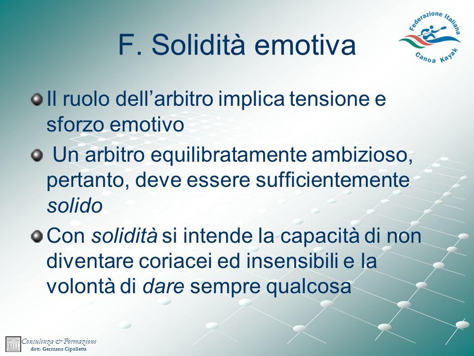 F. Solidità emotiva Il ruolo dell'arbitro implica tensione e sforzo emotivo.