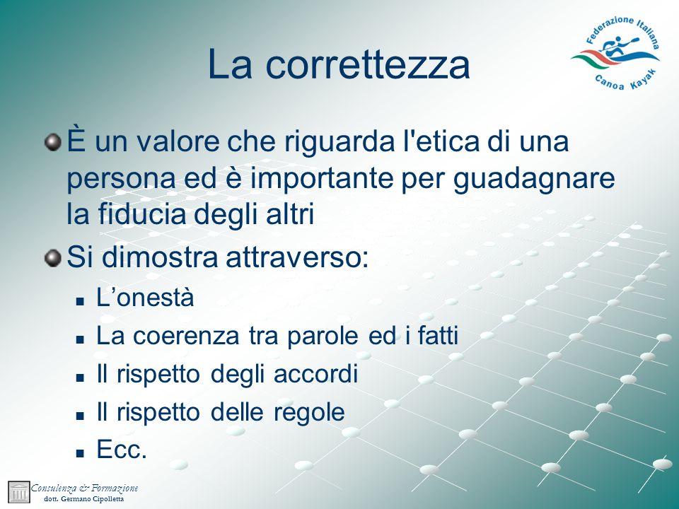 La correttezza È un valore che riguarda l etica di una persona ed è importante per guadagnare la fiducia degli altri.