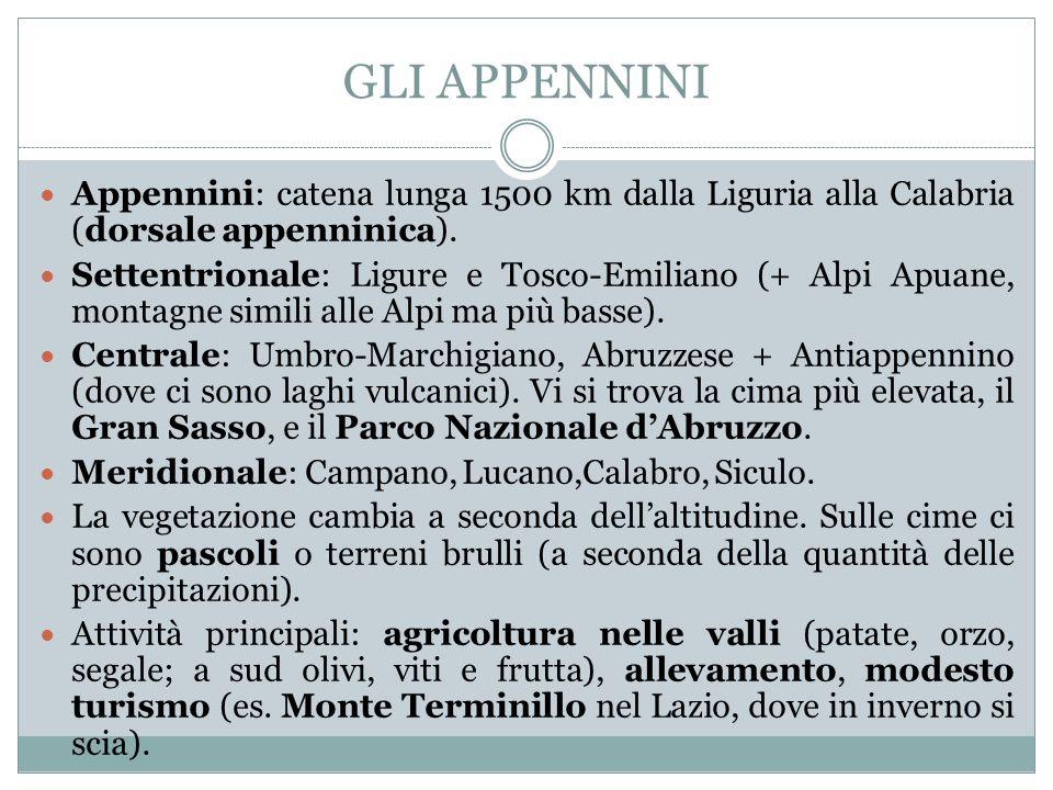 GLI APPENNINI Appennini: catena lunga 1500 km dalla Liguria alla Calabria (dorsale appenninica).