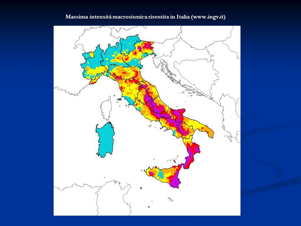 Massima intensità macrosismica risentita in Italia (www.ingv.it)