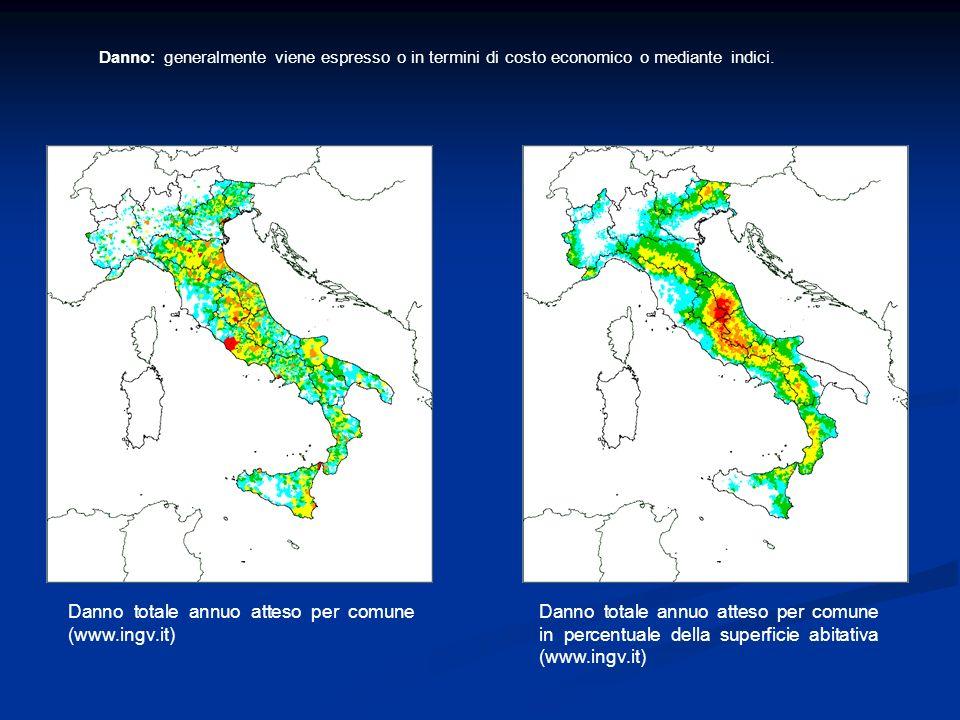 Danno totale annuo atteso per comune (www.ingv.it)