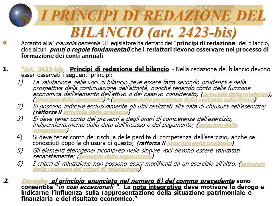 I PRINCIPI DI REDAZIONE DEL BILANCIO (art. 2423-bis)