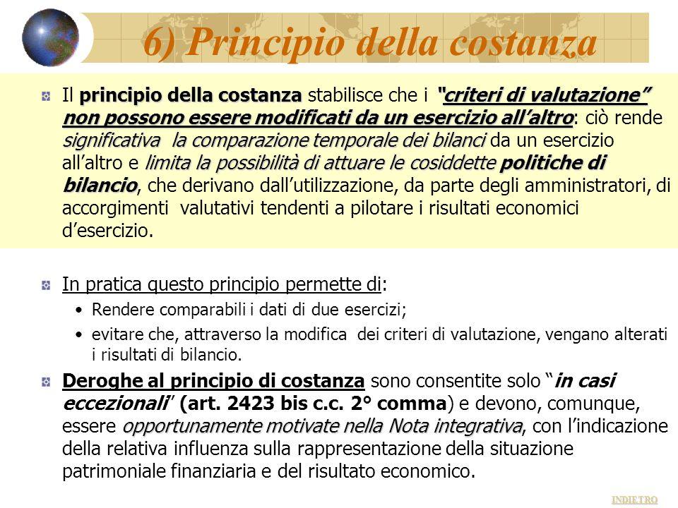 6) Principio della costanza