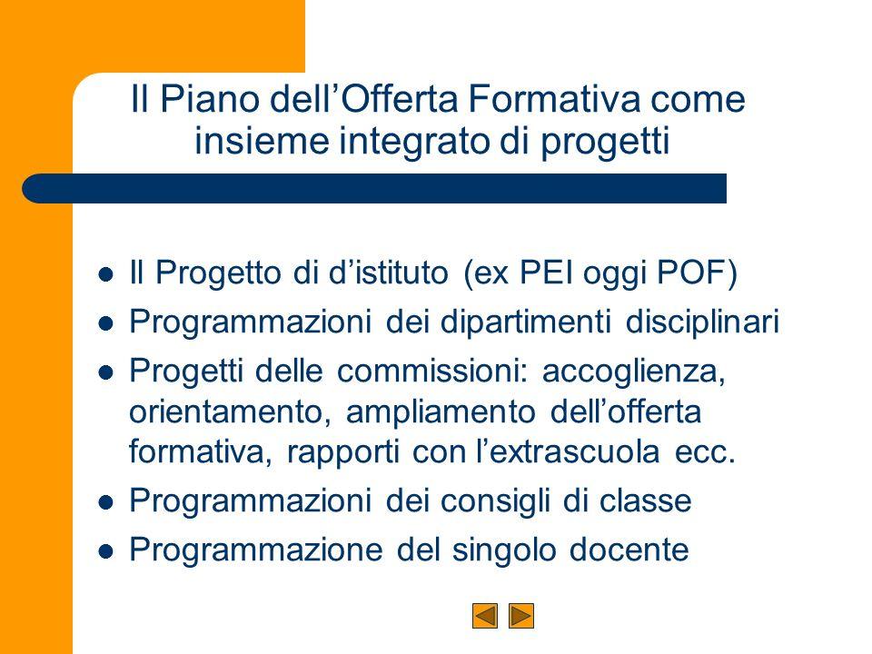 Il Piano dell'Offerta Formativa come insieme integrato di progetti
