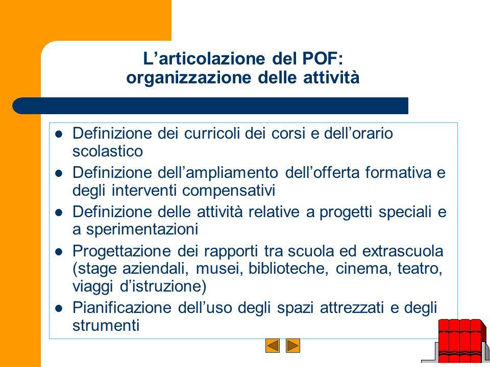 L'articolazione del POF: organizzazione delle attività