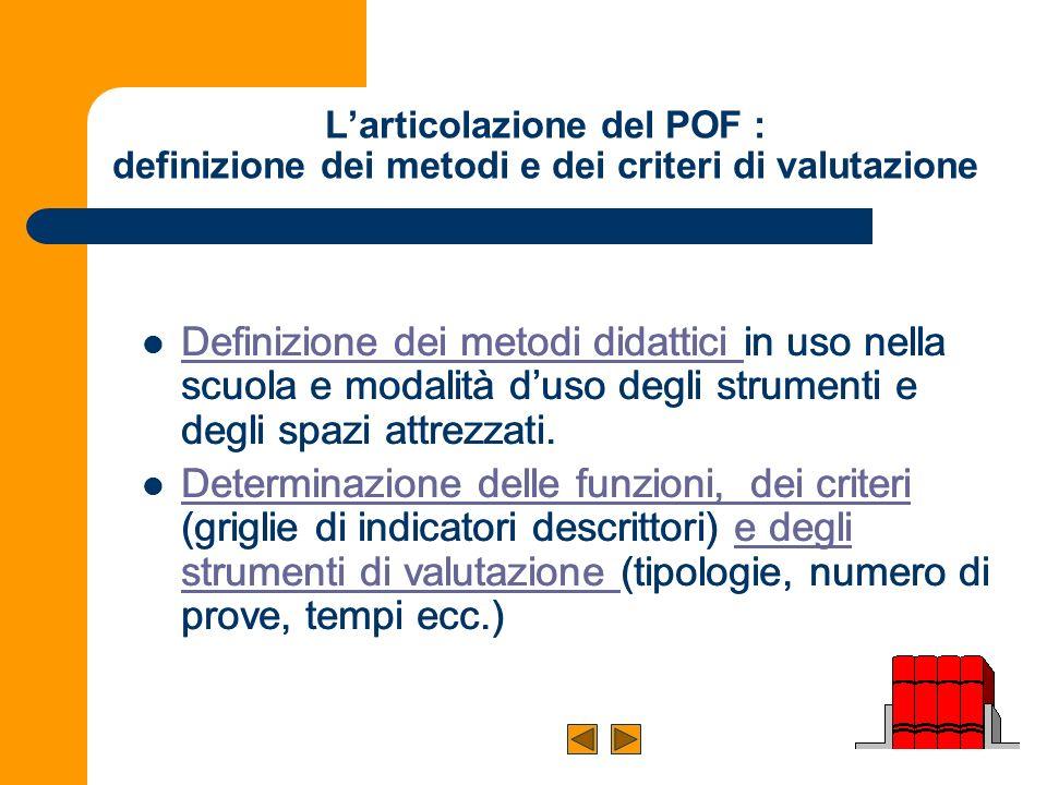 L'articolazione del POF : definizione dei metodi e dei criteri di valutazione