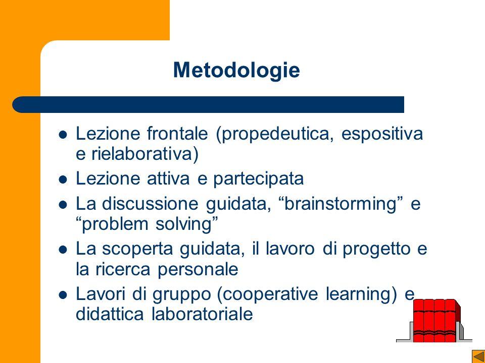 Metodologie Lezione frontale (propedeutica, espositiva e rielaborativa) Lezione attiva e partecipata.