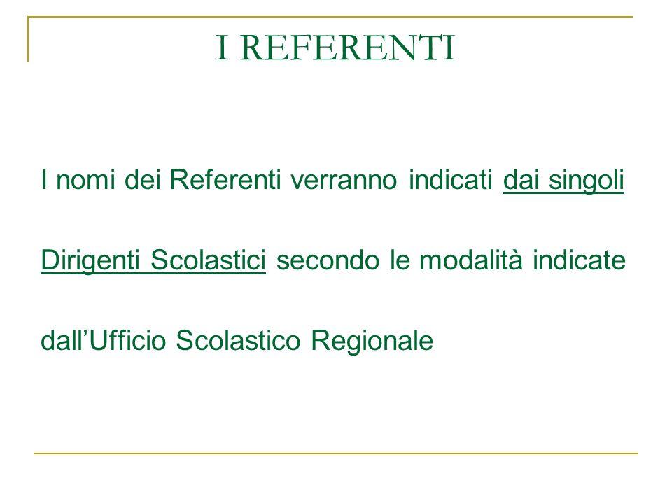 I REFERENTI I nomi dei Referenti verranno indicati dai singoli