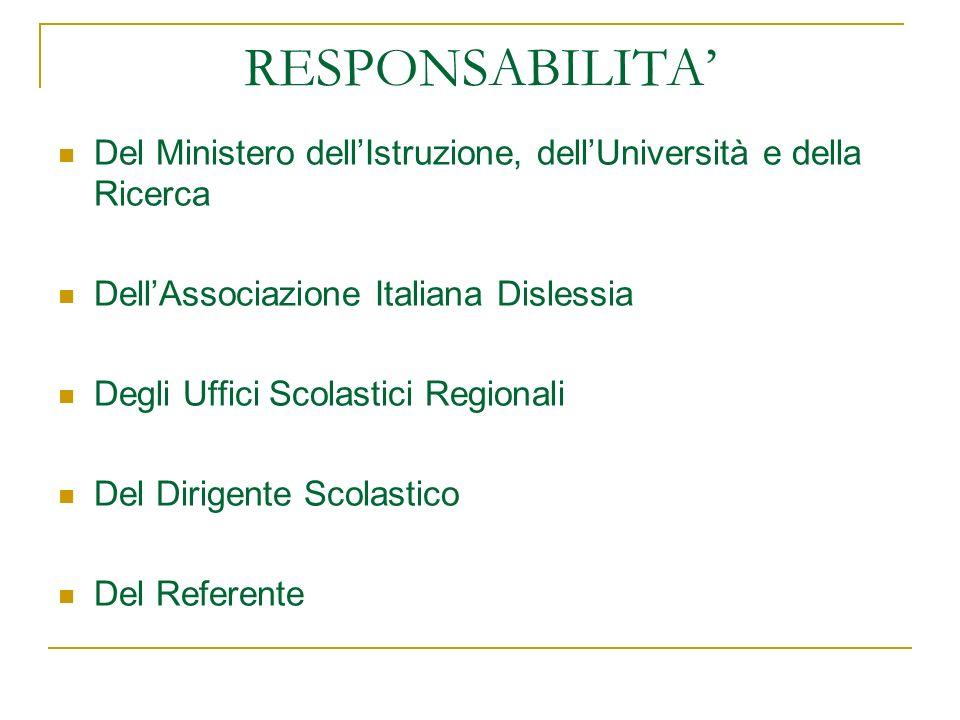 RESPONSABILITA' Del Ministero dell'Istruzione, dell'Università e della Ricerca. Dell'Associazione Italiana Dislessia.