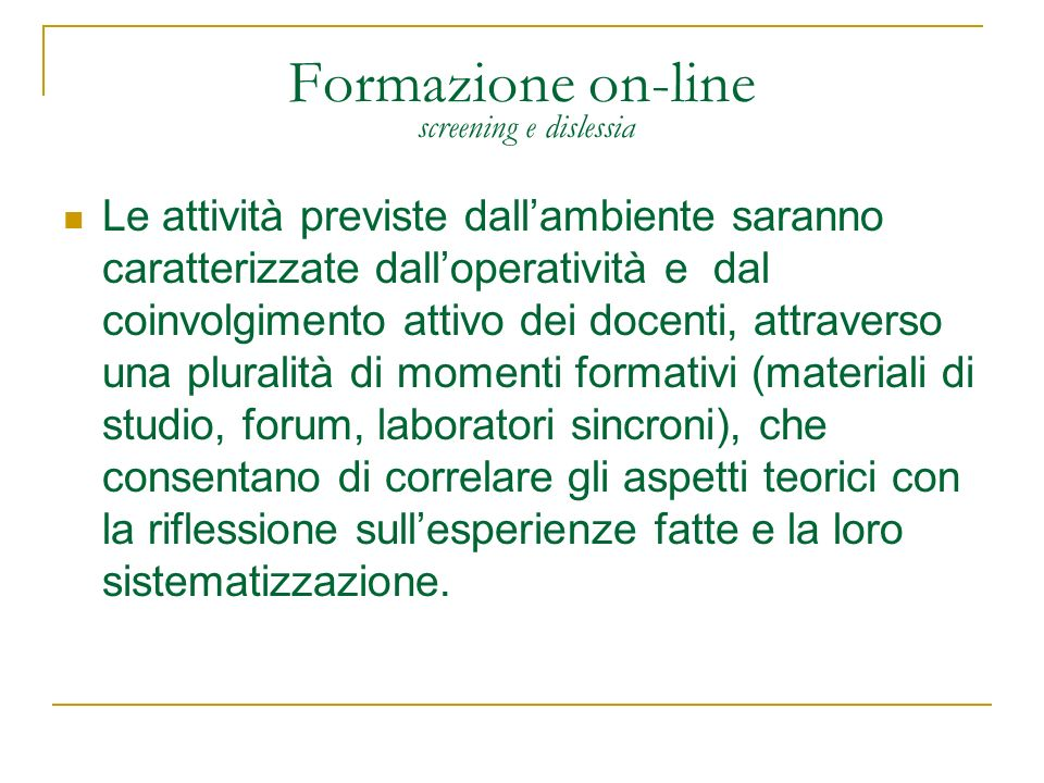 Formazione on-line screening e dislessia