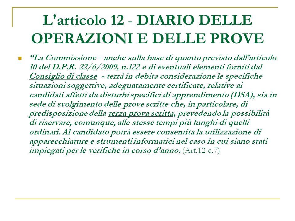 L articolo 12 - DIARIO DELLE OPERAZIONI E DELLE PROVE